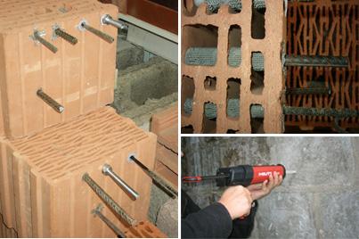 Крепление ответственных конструкций в стене из многопустотных керамических блоков.