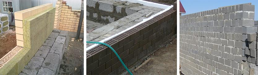 Кладка внешней стены из керамзитобетонного блока с утеплителем