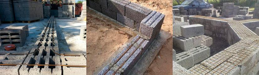 Порядное армирование кладки из керамзитобетонных блоков