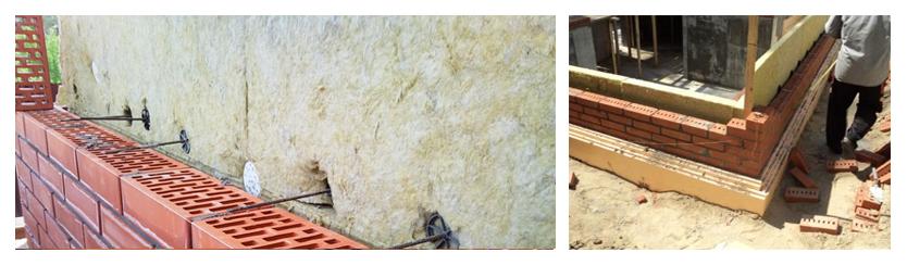 трёхслойная кладка внешней стены, облицованной кирпичом